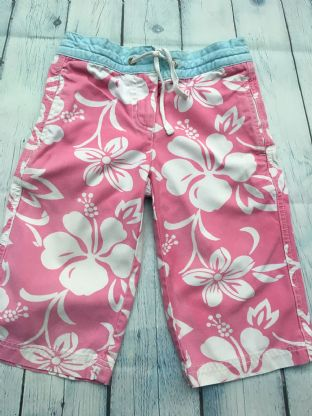 Mini Boden pink floral long shorts age 4-5